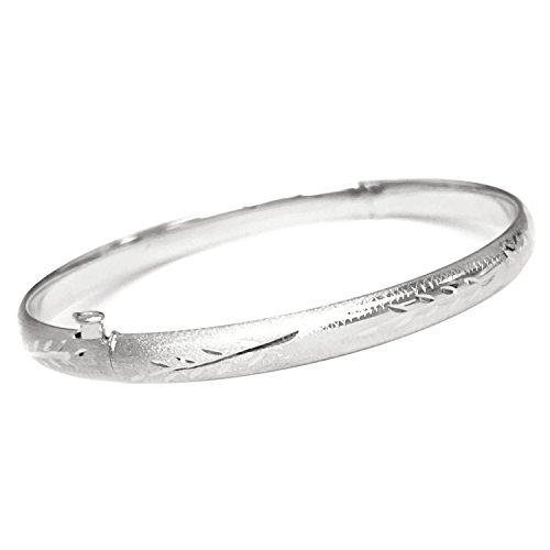 14k White Gold Hinged Floral Engraved Bangle Bracelet 5mm 8 Inches (Bracelets Slide Gold White)