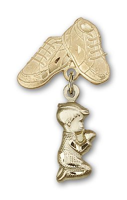 ReligiousObsession's 14K Gold Baby Badge with Praying Boy Charm and Baby Boots ()