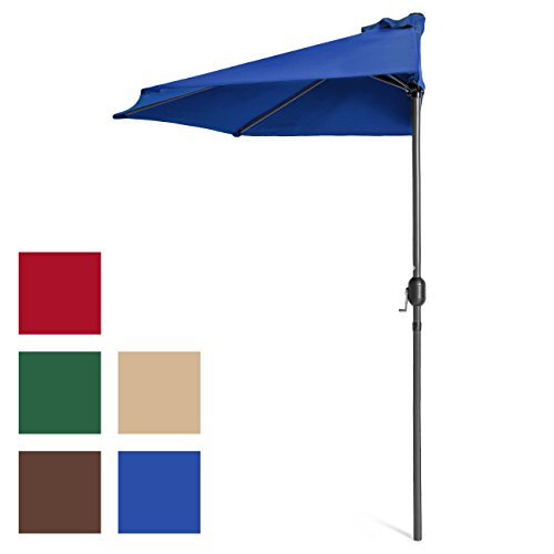 Best Choice Products 9ft Steel Half Patio Umbrella w/Crank Mechanism - Blue
