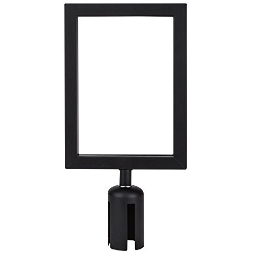 Black 8 3/4'' x 12'' Stanchion Sign Frame & Sign Set with Clear Covers By TableTop King by TableTop King (Image #1)