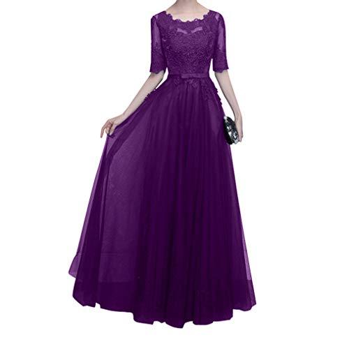 Damen Brautmutterkleider Navy Mutterkleider Langarm mit Abendkleider Charmant Dunkel Blau Spitze Lila Ballkleider Hundkragen RZqwx6Uw