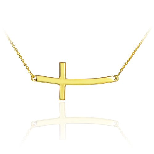 14k Solid Gold Sideways Curved Cross Necklace (16 Inches)