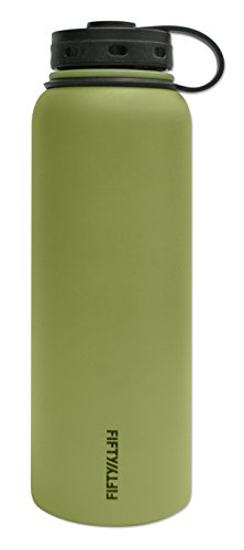 Fifty/Fifty Olive Vacuum-Insulated Stainless Steel Bottle with Wide Mouth - 40 oz. Capacity