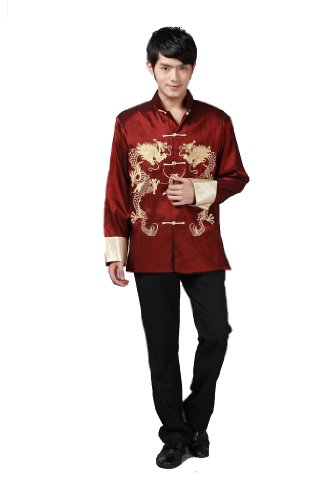 JTC Men Kung Fu Top Tai Chi Shirt China Traditional Garment Dragon Embroidery (US L / Chinese (Traditional Men Shirt)