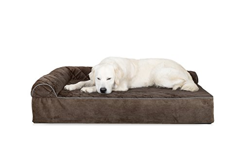Furhaven Pet Dog Bed | Deluxe Orthopedic Goliath Quilted L-Chaise Couch Pet Bed for Dogs & Cats, Espresso, 2XL