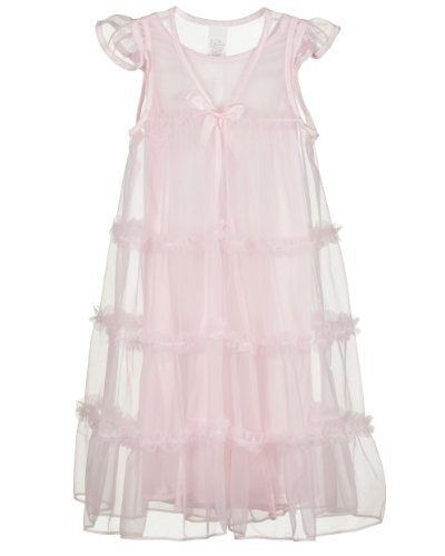 Laura Dare Little Girls Pink Princess Peignoir Nightgown and Robe Set, 6x -