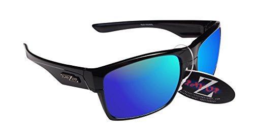 RayZor Professional Lunettes de soleil de sport Noir UV400Randonnée, ultra léger avec un bleu iridium Miroir anti-reflet Objectif