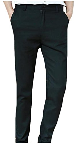Abetteric Men's Classic Fit Solid-Colored Work To Weekend Long Pants Black S (Cropped Pants Chino Weekend)