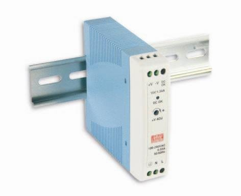 MEAN WELL MDR-20-24 MDR-20 Series 24 W Single Output 24 V AC/DC Industrial DIN Rail Power Supply - 1 (1 Din Rail)