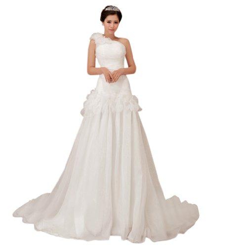 Kapelle Damen Kleidungen Dearta 1 A Mit Blumen Linie Drapiert Weiß Schleppe Schulter Handgemachte Organza Brautkleider YgHdwqw