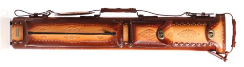 Instroke 3 Butt 5 Shaft Saddle Leather Cue Case Brown Air Brushed D04