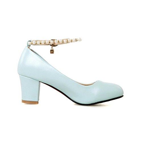 AgooLar Damen Weiches Material Schnalle Rund Zehe Mittler Absatz Rein Pumps Schuhe Blau