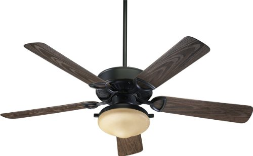 Quorum International 1435259395 Estate 2-Light Patio Ceiling Fan with Amber Scavo Glass Light Kit and Walnut ABS Blades, 52-Inch, Old World Finish