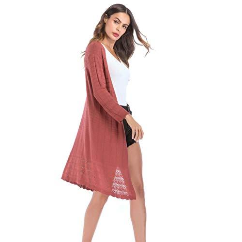 FANOUD Women's Loose Gradient Solid Knit Tassel Cardigan Retro Long Sleeve Coat by FANOUD (Image #2)
