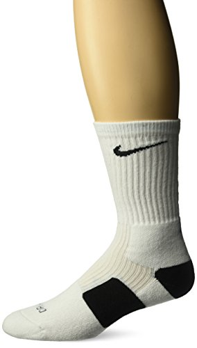 Nike Elite Basketball Crew, White Black, Medium
