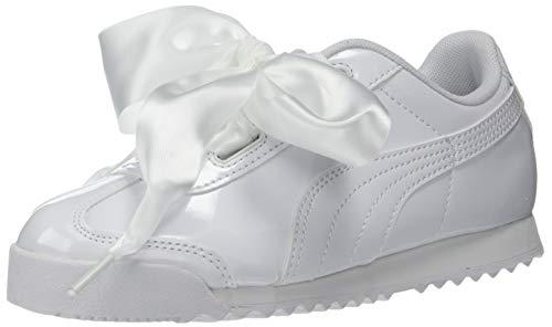 PUMA Girls' Roma Heart Sneaker, White, 13 M US Little Kid