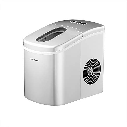 YONGTONG Portable Ice Maker Countertop Ice Maker Machine for Home, 12KG(26LB) Per 24 Hours,Ice Cubes ready in 8 Minutes, 2 Selectable Cube Size,with Ice Scoop and 1.5lb Removable Ice Bucket(Silver)