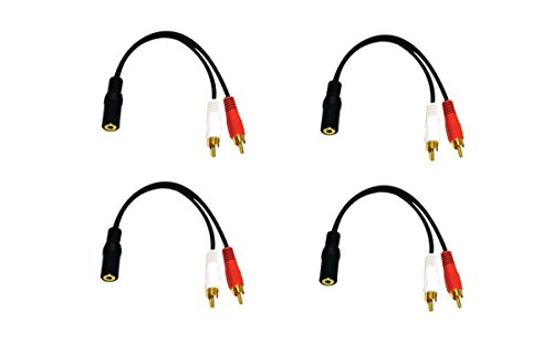 C&E 4 Pack 2 x RCA Male, 1 x 3.5mm Stereo Female, Y-Cable 6 Inch, CNE614090