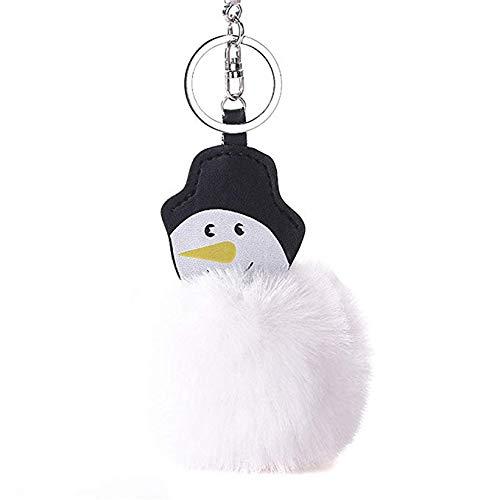 Llavero de Navidad con diseño de muñeco de nieve y pompones ...
