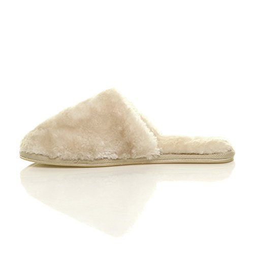 Ajvani Womens Ladies Flat Winter Luxury Cosy Fluffy Faux Sheepskin Fur Lined Slip on Mules Slippers Beige UDorpc9