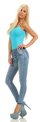 M 40 Bleu Turquoise Jeans Femme turquoise Fashion4Young qwxI408x