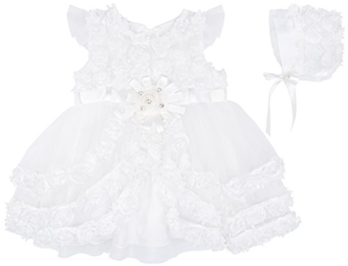 Lilax Baby Girl's Christening Baptism Rosebud Dress Gown & Bonnet 2 Piece Deluxe Set 6 (Awesome Halloween Cover Photos)