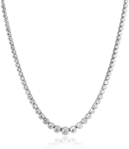 14k White Gold Milgrain Diamond Tennis Necklace, 17