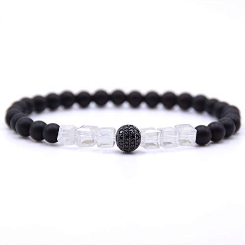 FBSL Bracelet 6Mm Matte Black Natural Stone Beads