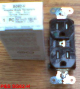 (10 PACK) PASS & SEYMOUR SG62-H Hospital Grade 15-AMP Duplex Receptacle 15A BROWN SG62H