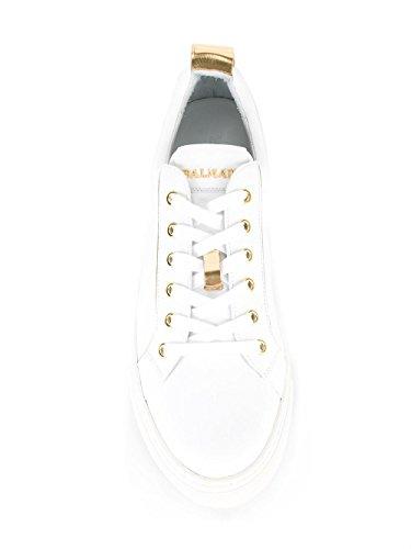 Balmain Hombre S7HA304P038100 Blanco/Oro Cuero Zapatillas