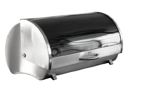 GEFU Bread Bin Rondo, Breadbox, with Lid, Stainless Steel/ Safety Glass, 33600