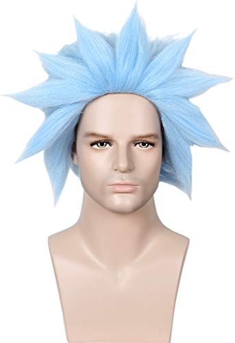 Linfairy Unisex Short Straight Cosplay Blue Wig Halloween Costume Fuzzy Funny Wig]()