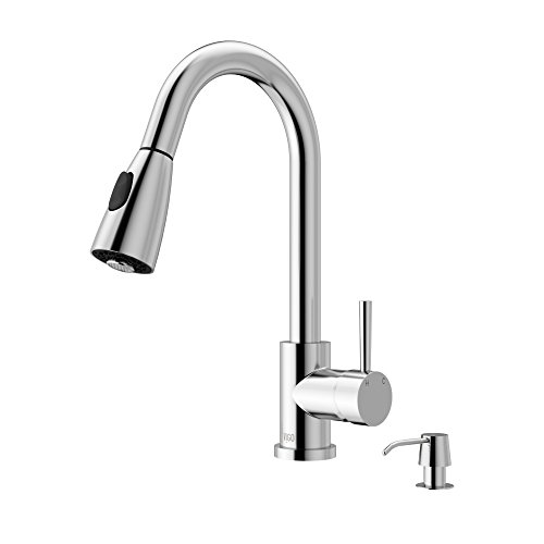 VIGO VG02005CH Weston 16 Inch Single Handle Pulldown Arc Brass Kitchen Sink Faucet with Soap Dispenser, Single Hole Install, 360 Swivel Spout, Premium Seven Layer Plated Chrome Finish