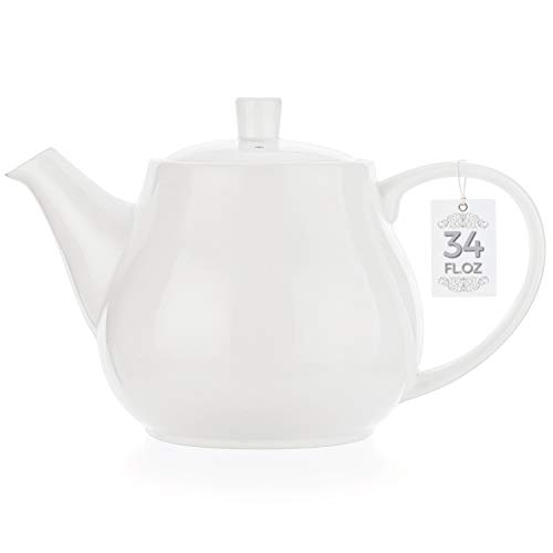 Tealyra - Large White Porcelain Teapot - 34.0-ounce (3-4 cups) - English Modern Style - Teapot with Bee Style Spout Filter To Brew Loose Leaf Tea - Ceramic Brewer Pot - 1000ml