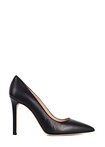 (Manolo Blahnik Womens BB Black Leather Pointed Toe Pumps IT37.5/US7.5 RTL$665)
