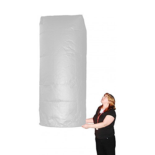Set of 5 Mega Giant White Sky Lanterns - Chinese Flying Wish Lights - Almost 7' tall by Sky Fly Fire Lanterns