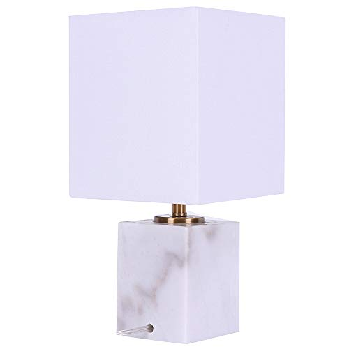 - DAINTIER Table Lamp with Textured Fabric Shade Faux Marble Base 14'' for Bedroom Study Dimmable