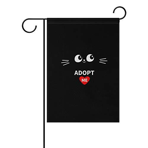 Garden Flag Set for Outdoors Adopt Me Heart Love Cat Double Print Evergreen Flag Double Sided Flag 12.5