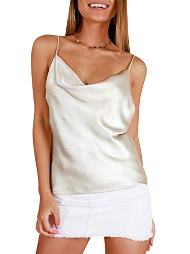 Miessial Women's Spaghetti Straps V Neck Satin Camisole Sleeveless Soft Tank Tops White 8 ()
