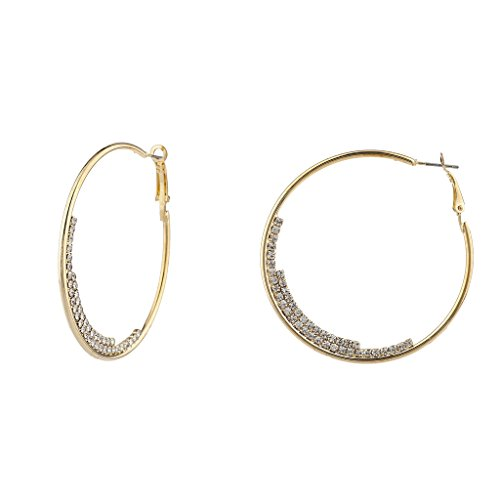 Lux Accessories Goldtone Crystal Rhinestone Half Moon Medium Hoop Earrings (Set Earring Hoop Half)