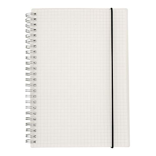 (HULYTRAAT Transparent Hardcover Graph Ruled/Square Grid Spiral Notebook, Size: 5.8 x 8.38 Inches, A5, 160 Pages/ 80 Sheets per Notebook (AWPPS1))