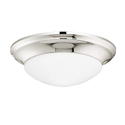 Langdon Mills 10013 Laurier 1-Light Flush Mount Ceiling Light, Polished Nickel