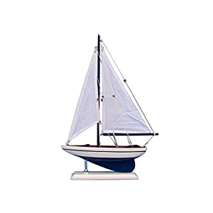 "Pacific Sailer 17"" - Night-time Blue Model Sailboat - Already Built Not a Kit – Wooden Sail Boat Replica Model Sailing Yacht Racer Nautical Retirement community Beach Wall Décor or Gift"