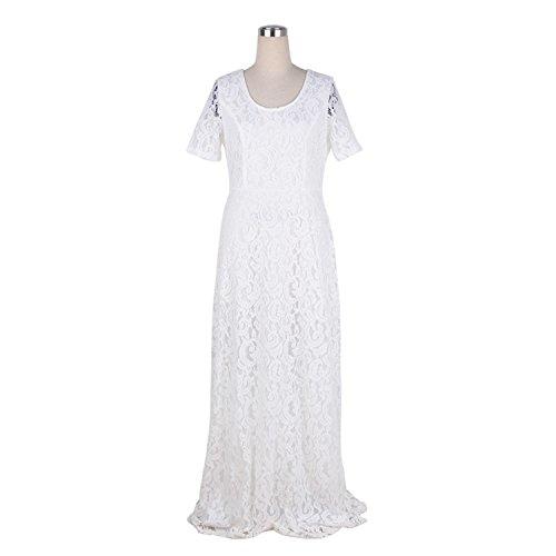 Price comparison product image Letters-from-Iceland Nemidor Hot Sales Women Elegant Lace Party Dress Plus Size 7XL 8XL 9XL Short Sleeve Floor Length Summer Casual Long Maxi Dress,White,6XL