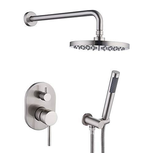 KES Bathroom Single Handle Shower Faucet Trim Valve Body Hand Shower Complete Kit Modern Round, Brushed Nickel, XB6231-2
