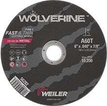 Weiler Aluminum Oxide Cutoff Wheel - Type 1 (Straight) - 60 Grit Fine Grade - 6 in Dia 7/8 in Center Hole - 10200 Max RPM - Wheel Thickeness:.40 in 25/EA ()