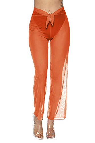 - COCOLEGGINGS Women's Front Tie Swimsuit Coverups Mesh Pants Orange S
