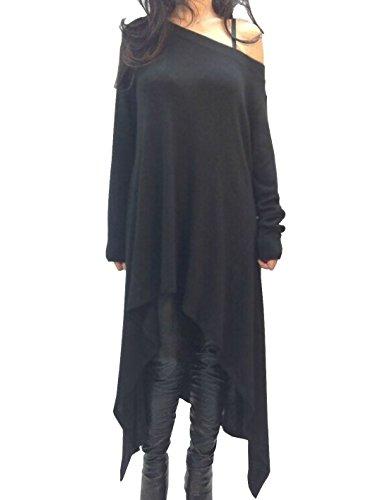 TOP-AK Damen langen Ärmeln Baumwolle Strick Pullover Kragen Schräg Unregelmäßigen T-Shirt-Kleid Lose Oversize Kleid Langshirt (EU40, schwarz)