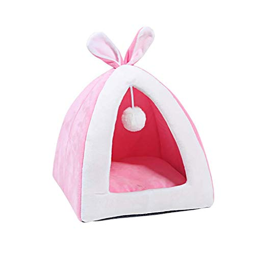 Pet Bed, Cute Rabbit Ears Kittens Indoor House With Stuffed Ball Warm 2 in 1 Foldable Cozy Triangle Cat Bed Tent Mat (S:31 x 31 x 35cm, Pink)