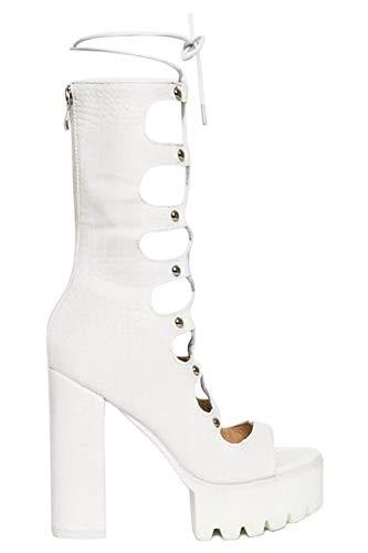OLCHEE Women's Fashion Lace Up Platform Heel Sandal Boots - Open Toe Gladiator Block High Heels - Mid-Calf White Croc, Size 8